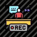 rewind, recording, news, broadcasting, reporter, interview