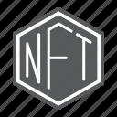 nft, non, fungible, token, blockchain, sign, coin icon