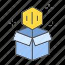 open, cardboard, box, nft, non, fungible, token icon