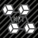 nft, blockchain, unique, token, cryptocurrency, digital icon