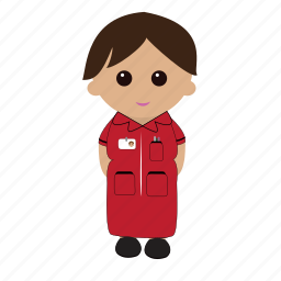 cartoon, female, nhs, nurse, uniform icon