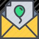 birthday, celebration, email, invitation, invite, mail, party icon