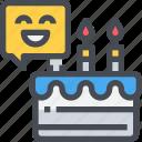 birthday, cake, celebration, happy, smile icon