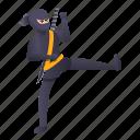 kicking, man, ninja, person, sport, tattoo