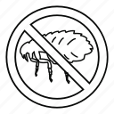 flea, insect, line, outline, stop, warning, white icon