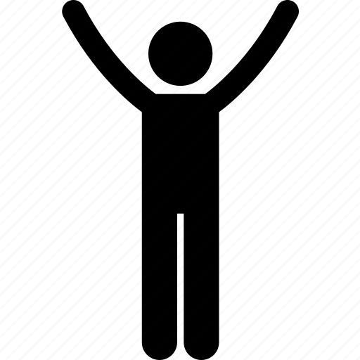 arms, hands, male, man, person, raise, stretching icon