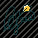 autograph, consent, evidence, handwriting, identity, legalization, signature icon