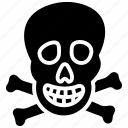crossbones, danger, jolly roger, pirate head, skull icon