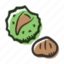 chesnut, food, healthy, nut, protein, snack icon