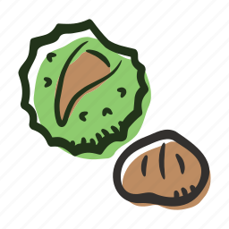 chestnut, food, healthy, nut, protein, snack icon