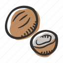 coconut, food, healthy, nut, protein, snack icon
