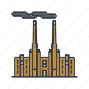 building, coal power plant, energy, industrial, industry, pollution, power generation icon