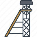 coal mining, headframe, industrial, industry, technology, tower icon
