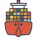 cargo, container ship, industrial, industry, shipping, technology icon