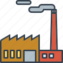 building, emissions, factory, industrial, industry, technology icon