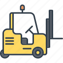 cargo, forklift, industrial, industry, technology, transport, vehicle icon