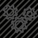 cog, wheel, gear, group, movement icon