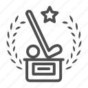 golf, prize, winner, star, stick, stand, branch
