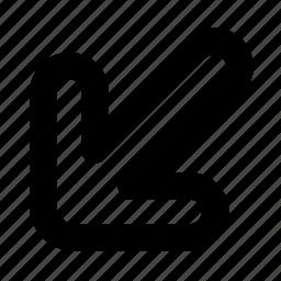 arrow, cursor, direction, left down, left-down, navigation, pointer icon