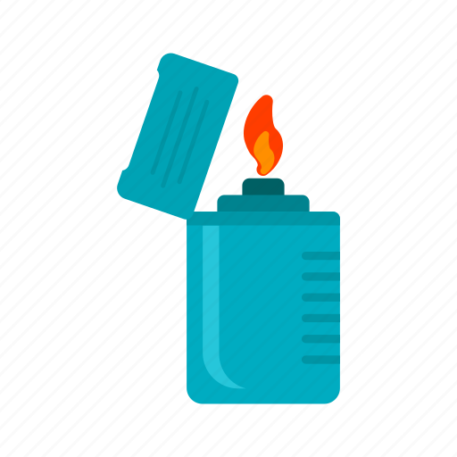 equipment, fire, flame, light, lighter, metal, object icon