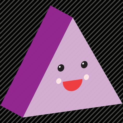 emoji, emoticon, face, happy, shape, smiley, trinagle icon
