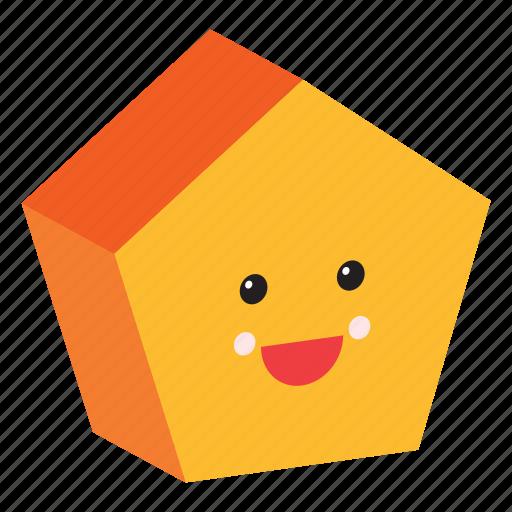 emoji, emoticon, face, happy, pentagon, shape, smiley icon