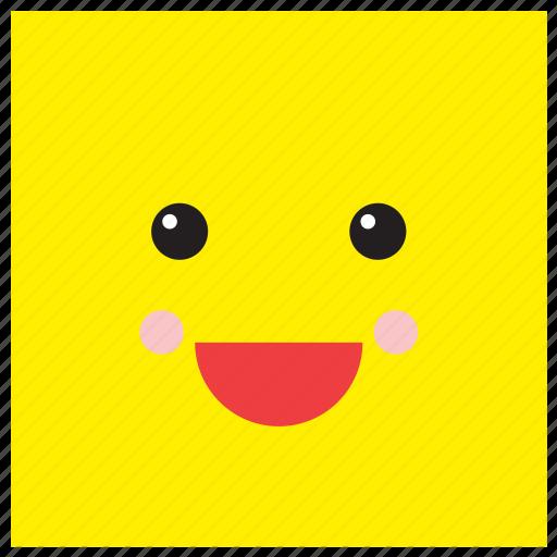 emoji, emoticon, face, happy, shape, smiley, square icon