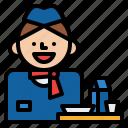 air, attendant, flight, hostess, service, steward icon