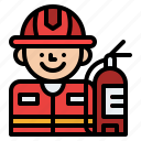 firefighter, job, occupation, profession icon