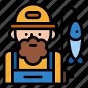 profession, occupation, job, fisherman icon