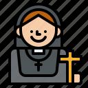 job, nun, occupation, religion icon