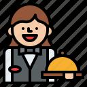 job, occupation, profession, waitress icon