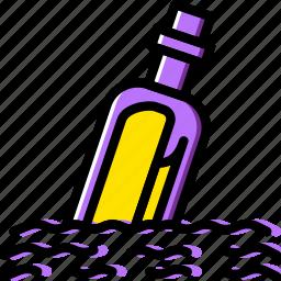 bottle, message, ocean, sea, water icon