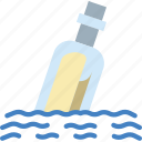 bottle, message, ocean, sea, water icon