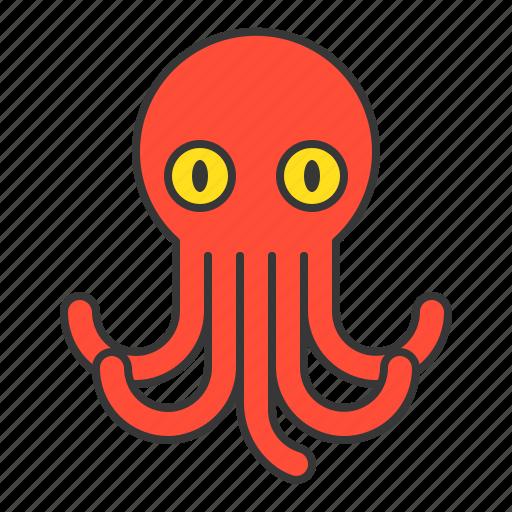 aquatic animal, ocean, octopus icon