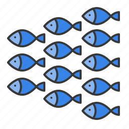 aquatic animal, fish, herd of fish, ocean, shoal icon