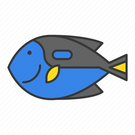 aquatic animal, fish, ocean, palette surgeonfish, tropical fish icon