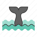 aquatic animal, ocean, sea, tail, whale icon