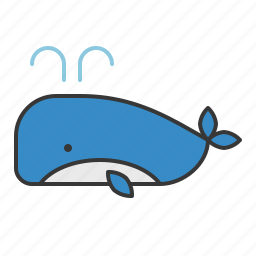 fish, ocean, whale, whale with fountain icon