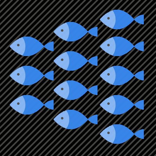 aquatic animal, fish, group of fish, ocean, sea, shoal icon