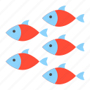 aquatic animal, fish, ocean, sea, shoal icon