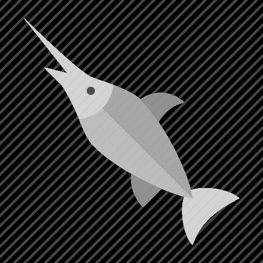 aquatic animal, fish, ocean, sea, seafood, swordfish icon