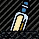 water, message, bottle, sea, ocean icon
