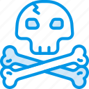 ocean, sea, skull, water icon
