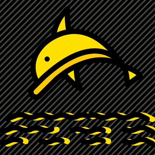 dolphin, ocean, sea, water icon