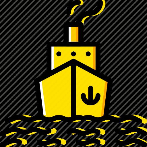 Water, boat, sea, ocean icon