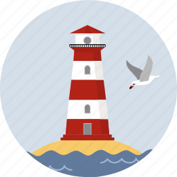 directory, light, ocean, seagull, tower, water icon