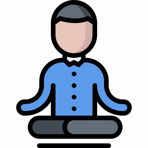 business, corporation, lotus, office, posture, tranquility, yoga icon