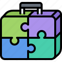 business, consolidation, corporation, job, office, portfolio, puzzle icon