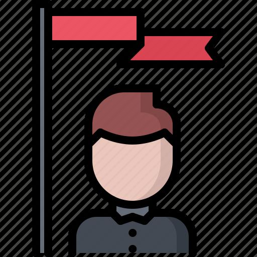business, corporation, discoverer, flag, job, leader, office icon
